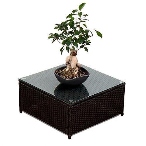 XINRO® (1er Polyrattan Lounge Tisch - Gartenmöbel Hocker Rattan - durch andere Polyrattan Lounge Gartenmöbel Elemente erweiterbar - In/Outdoor - handgeflochten - schwarz