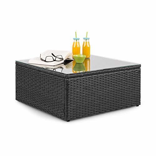 blumfeldt Theia Loungetisch Beistelltisch Gartentisch • Polyrattan • Glasplatte • schwarz