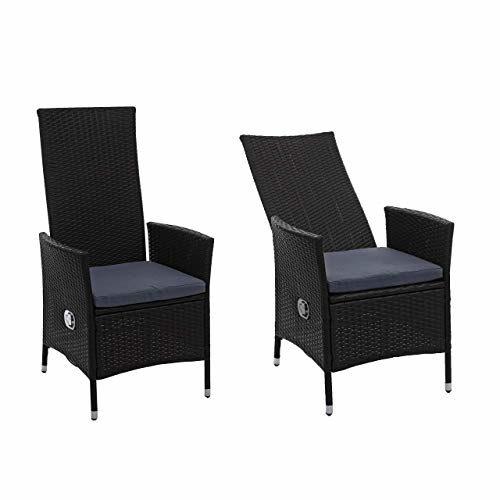 Mendler 2X Poly-Rattan Sessel HWC-E22, Gartensessel Gartenstuhl, verstellbar ~ schwarz, Kissen dunkelgrau