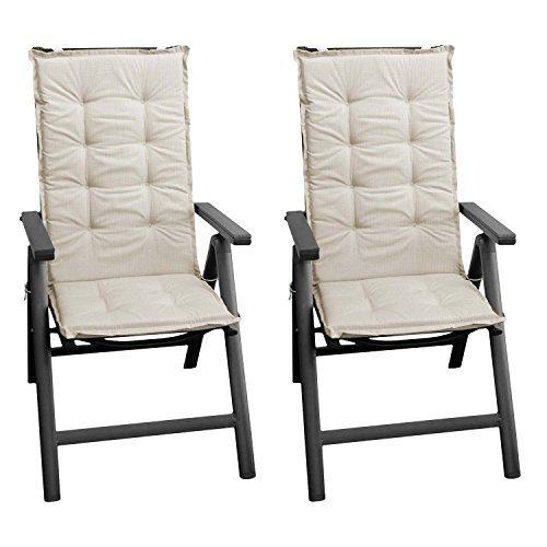 Wohaga 2 Stück Sitzkissen Auflage für Gartenstühle Stuhlauflage Sitzpolster Polsterauflage Gartenstuhlauflage Sitzauflage Sitzpolsterauflage Sitzkissenpolster für Hochlehner 112x45cm - 4cm dick/beige