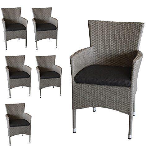 Wohaga 6X Polyrattan Sessel stapelbar Rattansessel grau-meliert inklusive schwarzen Sitzkissen Gartensessel Stapelstuhl Gartenstuhl Rattanstuhl