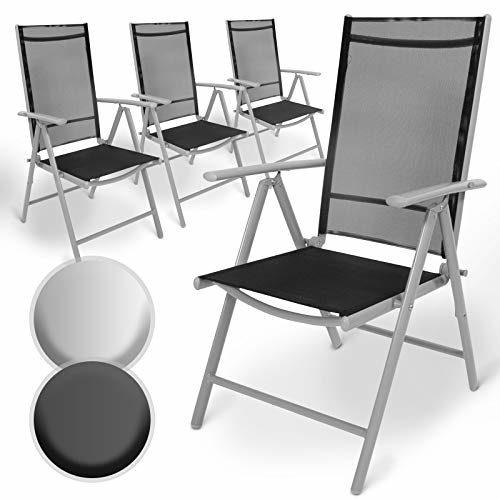 Aluminium Gartenstuhl mit Armlehnen Set | 5-Fach verstellbar, leicht, klappbar, mit 2x1 Kunststoffgewebe | Hochlehner, Klappstuhl, Liegestuhl, Stühle, Sitzmöbel, Garten, Terrasse (4er, Hellgrau)