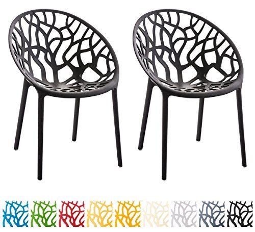 CLP 2er-Set Gartenstuhl Hope aus Kunststoff I 2X Wetterbeständiger Stapelstuhl mit Einer max. Belastbarkeit von: 150 kg I erhältlich Schwarz