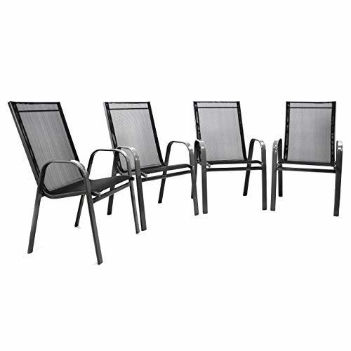 Nexos 4er Set Gartenstuhl Stapelstuhl Stapelsessel Hochlehner Terrassenstuhl - Textilene Stahlgestell - Farbe: Rahmen dunkelgrau/Bespannung schwarz