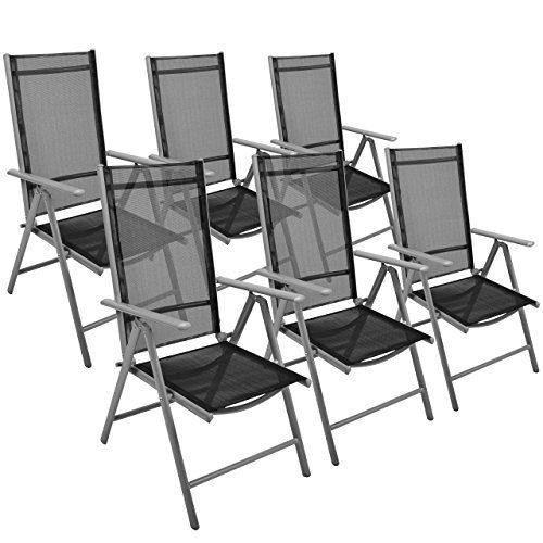 Nexos 6er Set Klappstuhl Gartenstuhl Campingstuhl Liegestuhl - Sitzmöbel Garten Terrasse Balkon - klappbarer Stuhl aus Aluminium & Kunststoff - schwarz
