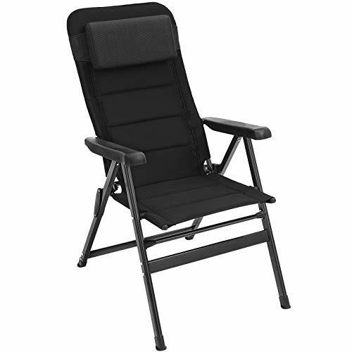 SONGMICS Gartenstuhl, klappbar, komfortabler Sitz, mit Schaumstoff gepolstert, Klappstuhl mit Kopfkissen, robust, verstellbar, bis 150 kg belastbar, Outdoor Stuh GCB02BK