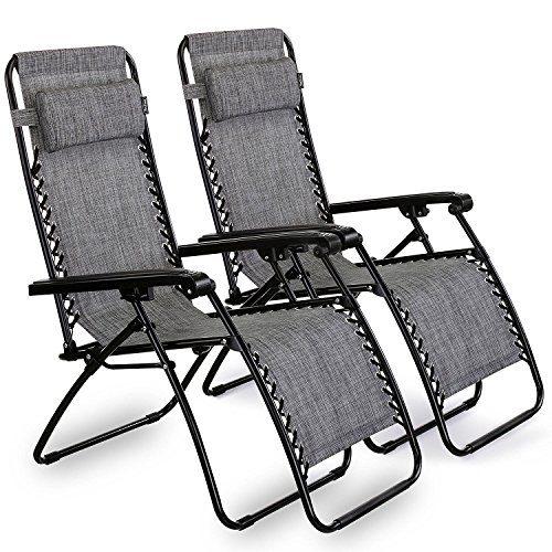 VonHaus 2 Gartenstühle/Klappstühle Hochlehner - - Klappbare Sonnenliegen mit Lehne und Kopfkissen aus Stahlrahmen und Textoline - ideal für Terrasse, Wintergarten, Garten