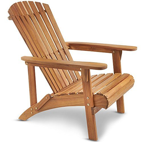 VonHaus Adirondack-Gartensessel - Akazienholz mit Geöltem Finish - Outdoor-Gartensessel aus Holz