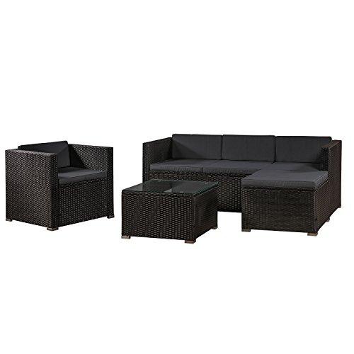 ArtLife Polyrattan Lounge Punta Cana L schwarz mit Bezügen in Dunkelgrau | Gartenmöbel-Set mit Sofa, Hocker und Tisch für 4-5 Personen