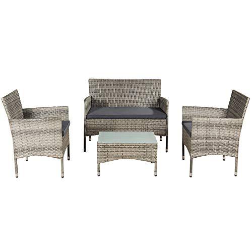 ArtLife Polyrattan Sitzgruppe Fort Myers grau-meliert | dunkelgraue Bezüge | 4 Personen | Lounge Rattanoptik Gartenmöbel-Set für Balkon oder Terrasse