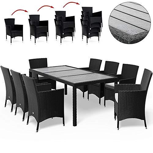 Deuba Poly Rattan Sitzgruppe WPC Tisch & 8 Stapelbare Stühle 7cm Dicke Auflagen Schwarz Gartenmöbel Sitzgarnitur Set