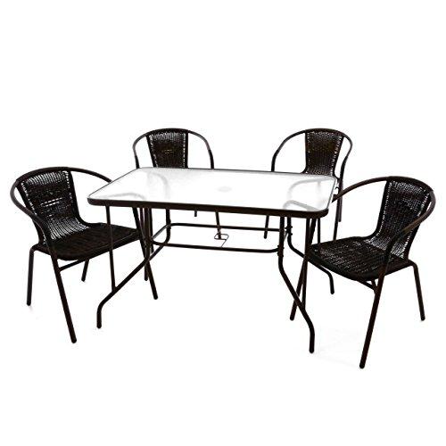 Nexos 5-teiliges Gartenmöbel-Set - Gartengarnitur Sitzgruppe Sitzgarnitur aus Bistrostühlen & Esstisch - Stahl Kunststoff Glas - braun Dunkelbraun