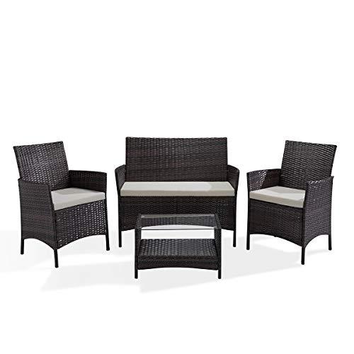 SVITA Brooklyn Gartenmöbel Poly Rattan Sitzgruppe Essgruppe Set Sofa-Garnitur Lounge Braun, Grau oder Schwarz (Braun)