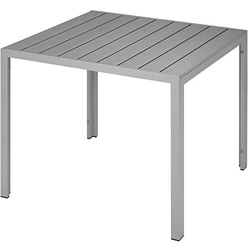 TecTake 800587 Gartentisch, Wetterfest, aus Aluminum und Kunststoff, Paneele in Holzoptik, Zwei höhenverstellbare Füße | Diverse Farben (Silber | Nr. 402955)