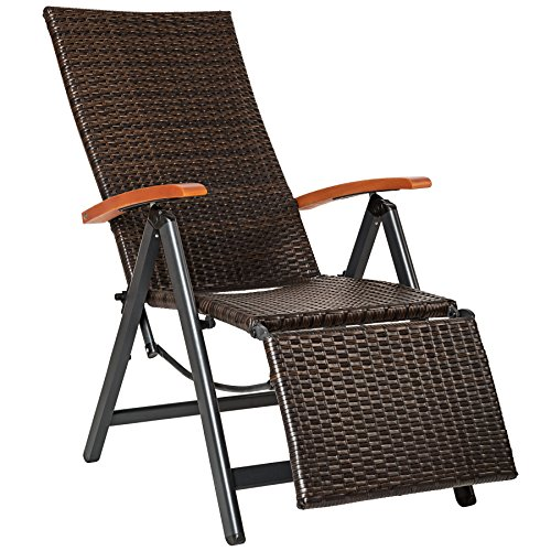 TecTake 800720 Aluminium Poly Rattan Relaxsessel mit Fußablage, klappbar & verstellbar, für Garten, Balkon & Terrasse, Gartenstuhl, witterungsbeständig - Diverse Farben - (Braun | Nr. 402218)
