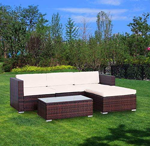 YOUKE Poly Rattan Lounge Sitzgruppe Gartenmöbel Essgruppe Set Sofa-Garnitur Poly Rattan 4 Sitzplätze (Brown)