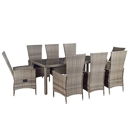 ArtLife Polyrattan Sitzgruppe Rimini Plus 9-teilig grau-meliert | Gartenmöbel Set mit Tisch, 8 Stühlen & Kissen | graue Bezüge | Rattan Balkonmöbel