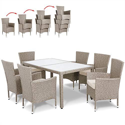 Casaria Poly Rattan Sitzgruppe Grau Beige 6 Stapelbare Stühle & 1 Tisch 7cm Dicke Auflagen Sitzgarnitur Gartenmöbel Garten