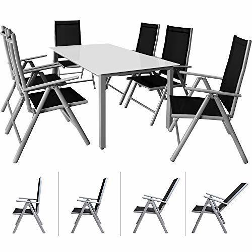 Casaria Sitzgruppe Bern 6+1 Aluminium 7-Fach verstellbare Hochlehner Stühle Milchglas Tisch Silber Gartenmöbel Set