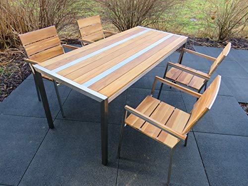 Design Edelstahl-Gartenmöbel Teak Tisch, 4 Stühle