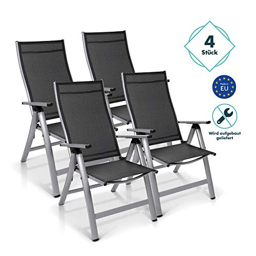 Homeoutfit24 Sun Garden Premium Line 4er Set Gartenstuhl Hochlehner London in Silber, Klappsessel aus Aluminium