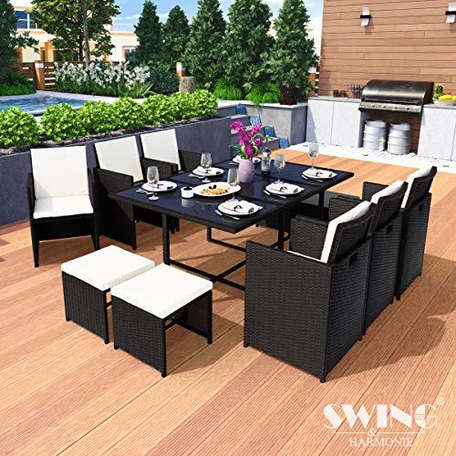 Swing & Harmonie Polyrattan Sitzgruppe Esstisch Lounge Sitzgarnitur Essgruppe Gartenmöbel Set (11-Teilig, Schwarz)